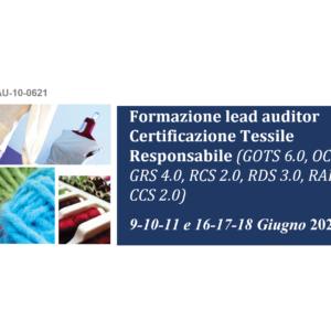 Corso formazione lead auditor settore Tessile Responsabile – Giugno 2021